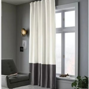 One New Blackout Color Block Curtain Panel